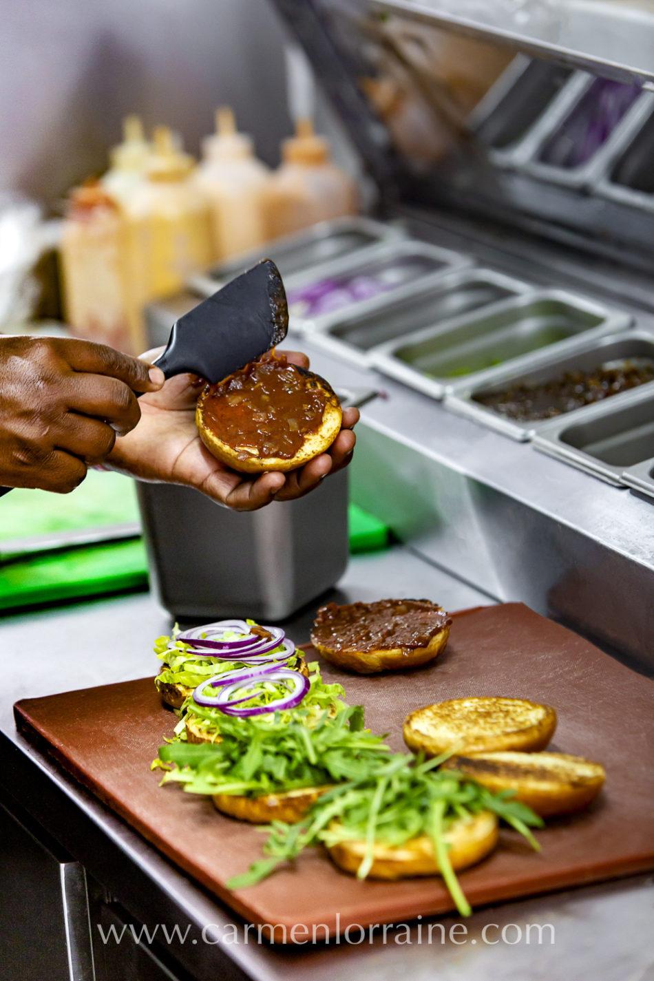 making a burger