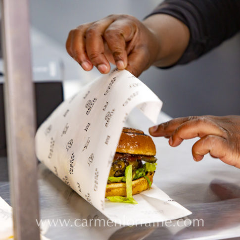 wrapping a burger