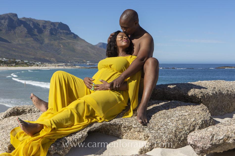 Maternity photo shoot on camps bay beach beach