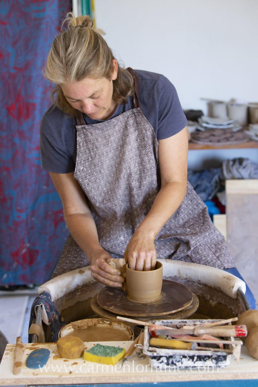 potter in her studio