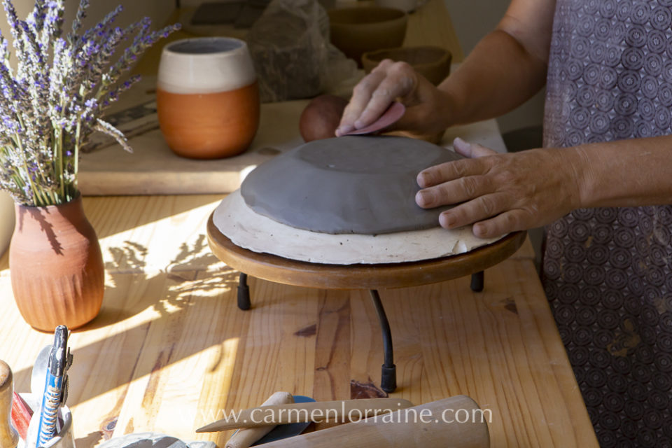 clay platter bowl in the making